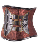 Vintage Overbust Corset Brown Leather Corset Underbust Womens Steampunk Corsets _