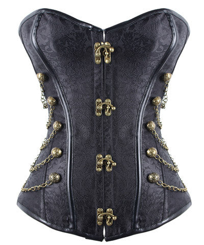 Steampunk Floral Overbust Corset Chain Side Gothic Corsets For Women @ victorianfoundry.com