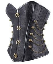 Steampunk Floral Overbust Corset Chain Side Gothic Corsets For Women _ - Victorian Foundry