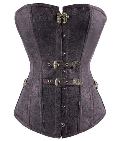 Retro Floral Steampunk Hook Eye Buckle Overbust Corset Shapewear Waist Trimmer @ Victorianfoundry.com