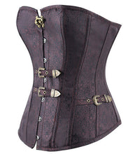 Retro Floral Steampunk Hook Eye Buckle Overbust Corset Shapewear Waist Trimmer _ - Victorian Foundry