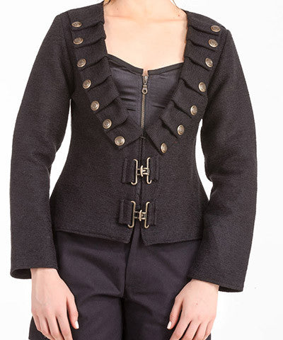 Ladies Steampunk Military Jacket Womens Long Sleeve Brown Overcoat - Victorian Foundry
