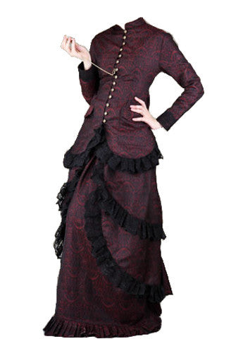 Ladies Red & Black Lace Button Down Victorian Steampunk Dress. 2 Piece Womens Skirt & Blouse - Victorian Foundry
