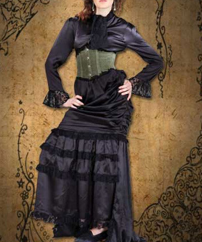 Dark Frill Aristocrat Dress With Harness Steampunk Outfit - Victorian Foundry
