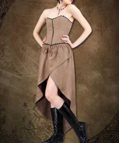 Steampunk Adventurer Womens Brown Ensemble Ladies Dress Outfit - Victorian Foundry