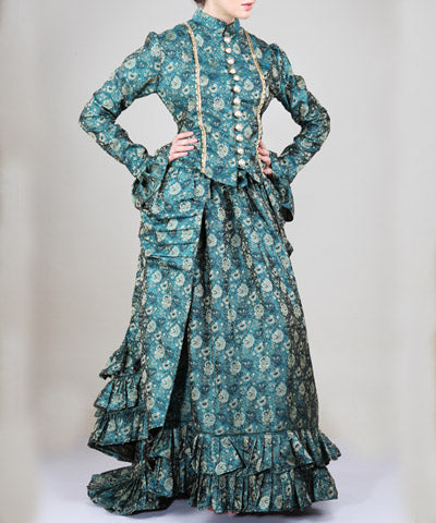 Green Gold Brocade Ruffle Steampunk Dutchess Dress Ensemble Womens