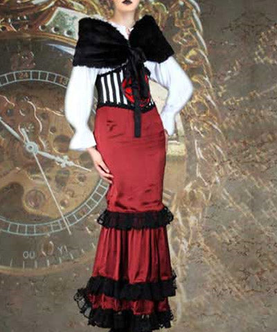 Steampunk Dutchess Womens Red Ensemble Aristocratic Ladies Dress Outfit - Victorian Foundry