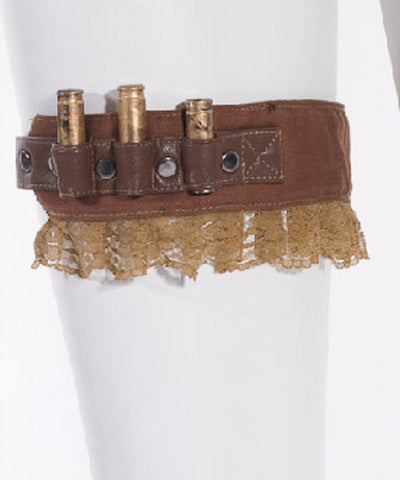 Steampunk Dystopia Wasteland Bullet Garter Belt Cuff with Lace Brown or Black - Victorian Foundry