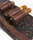 Alchemist's Steampunk Bracelet Leather Unisex Alchemy Cuff with Glass Apothecary Bottles - Victorian Foundry
