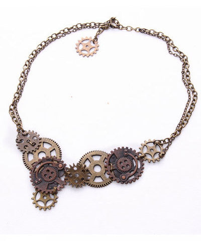 Steampunk Metal Gear & Chain Necklace! Adjustable Steam Punk Choker Industrial Gothic Gears Handmade Necklace _