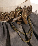 Steampunk Airship Pilot Jabot Embellished Wasteland Choker Necklace in Grey or Brown - Victorian Foundry