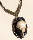 Steampunk Bird Skull Necklace Gothic Wasteland Faux Animal Bone Metal Choker - Victorian Foundry
