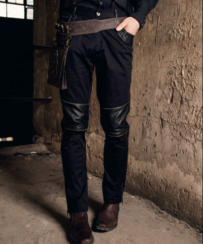 Men's Black Cotton and Leather Steampunk Trousers Cyberpunk Pants with Zippers - Victorian Foundry
