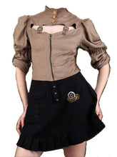 Ladies Steampunk High Collar Brown Blouse and Black Steampunk Short Skirt. Women's Victorian Outfit - Victorian Foundry
