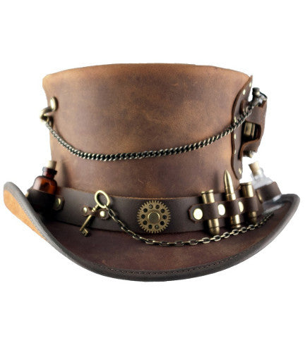 Steampunk Top Hat Wild West Wasteland Style Leather Hats w/ Gears and Pocketwatch - Victorian Foundry