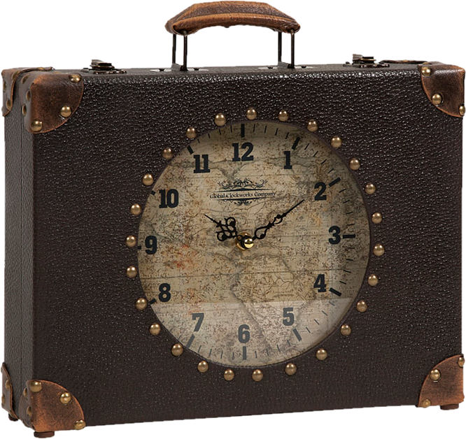 Victorian Steampunk World Map Suitcase Clock - Victorian Foundry