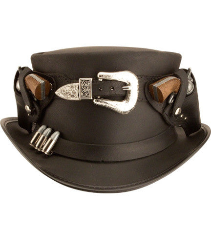 Steampunk Wild West Sheriffs Top Hat. Unique Leather Steam Punk Buckled Hat - Victorian Foundry