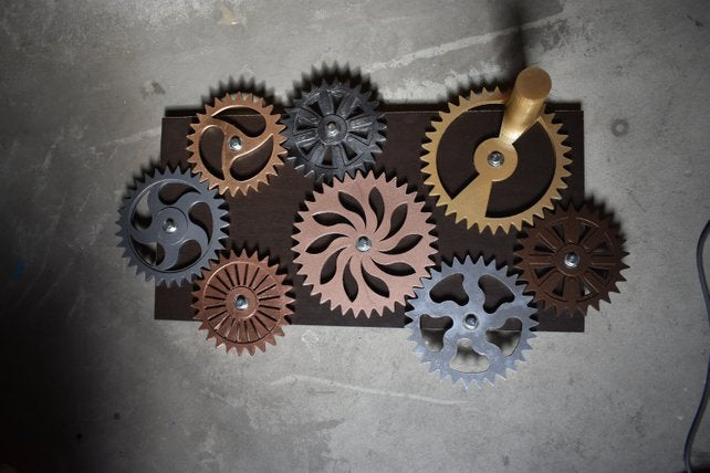 Large Interlocking Turnable Steampunk Spinning Gear Board! Wall Art Escape Room Huge Finished Decor - Victorian Foundry