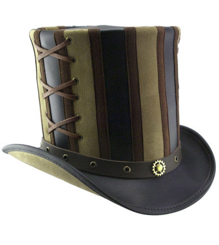 Steampunk Striped Stovepipe Top Hat. Belted Leather Steam Punk Tophat Unisex - Victorian Foundry