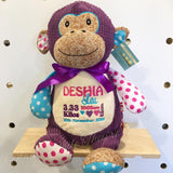 Personalised Purple Harlequin Monkey Cubby