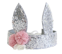 Load image into Gallery viewer, Alimrose Sequin Bunny Crown Silver