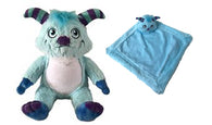 Personalised Blue Monster Teddy & Blankie Set