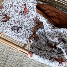Load image into Gallery viewer, Creatures of the Woods Muslin Sheet - COT
