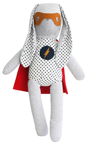 Personalised Alimrose Hero Cuddle Bunny 51cm Navy Star
