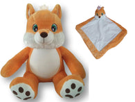 Personalised Orange Fox Teddy & Blankie Set