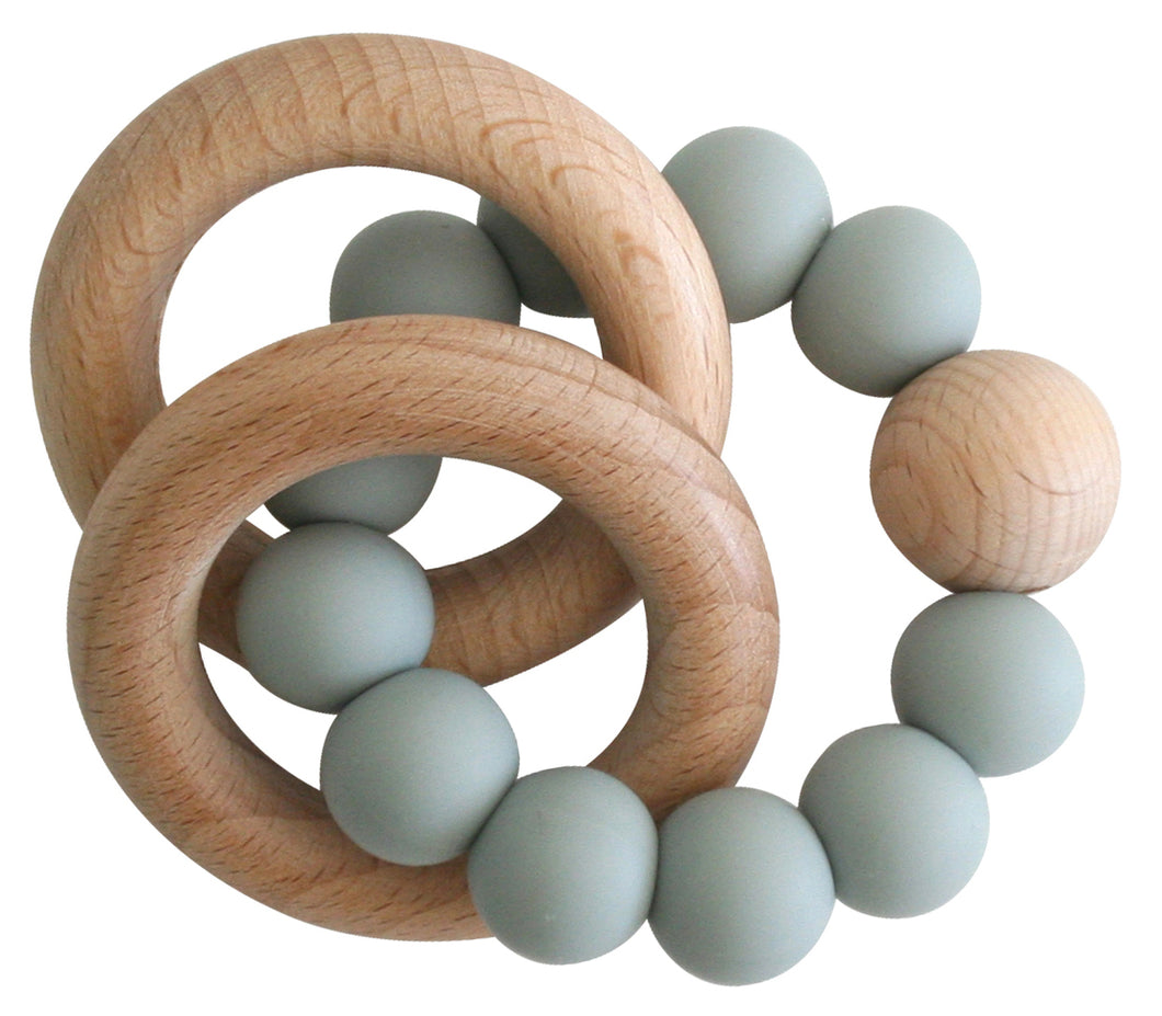Alimrose Beechwood Teether Ring Set - Sage