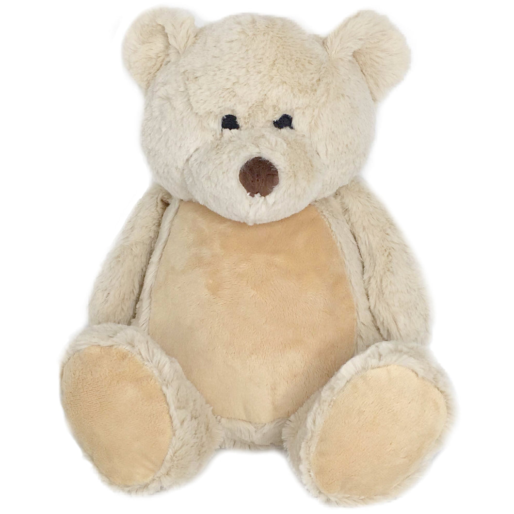 Personalised Tan Zippies Beige teddy bear