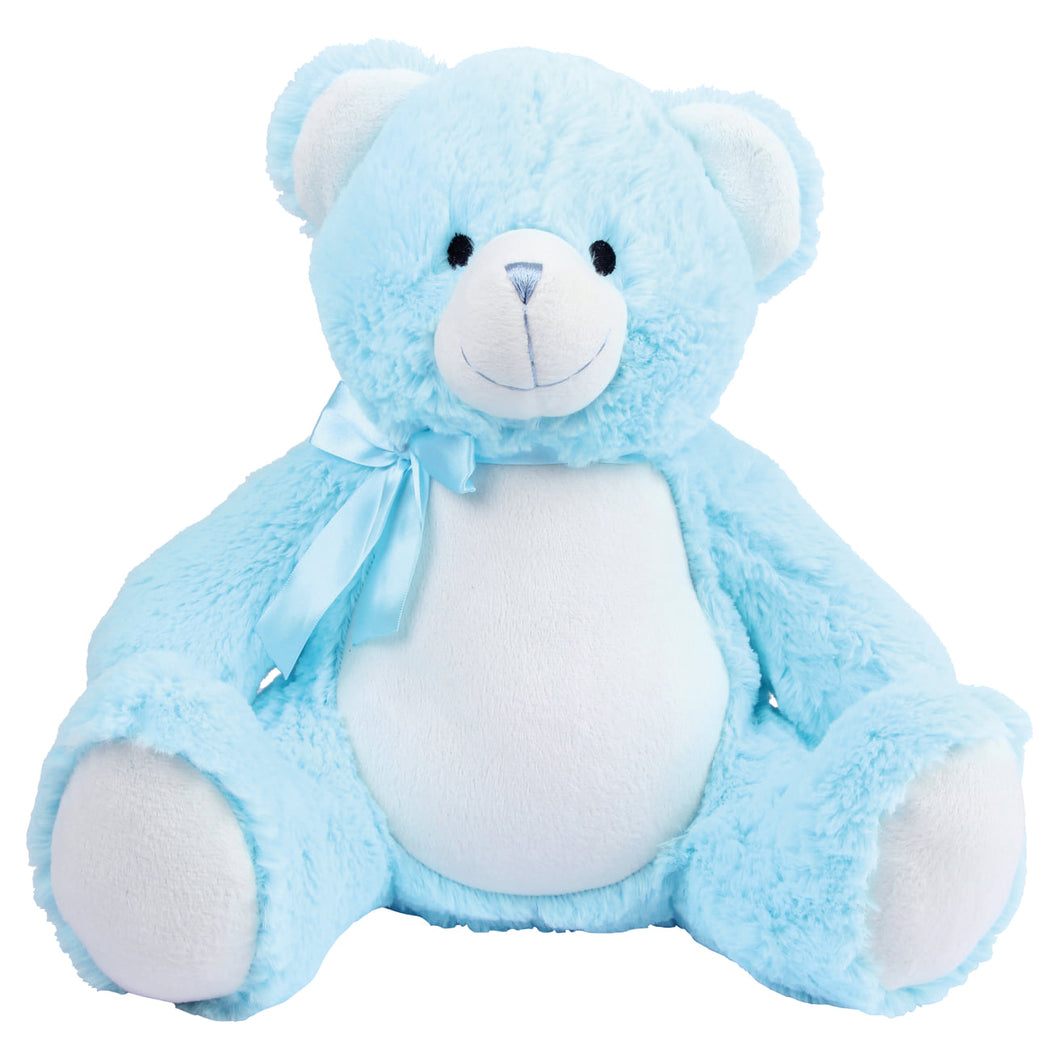 Personalised Blue Baby Bear with blue ribbon bow