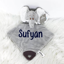 Load image into Gallery viewer, Personalised Elephant Comforter with teether & rattle