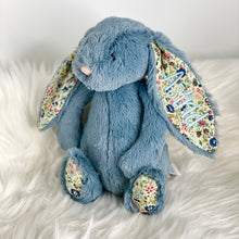 Load image into Gallery viewer, Personalised Jellycat Bashful Bunny - Dusky Blossom with pale blue embroidery thread