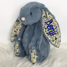 Load image into Gallery viewer, Personalised Jellycat Bashful Bunny - Dusky Blossom with royal blue embroidery thread