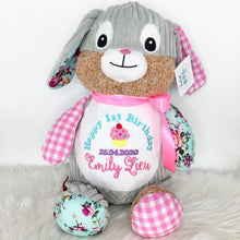 Load image into Gallery viewer, Personalised Harlequin Bunny Cubbie Pink