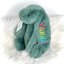 Load image into Gallery viewer, personalised firest green medium jellycat bunny with rainbow embroidery