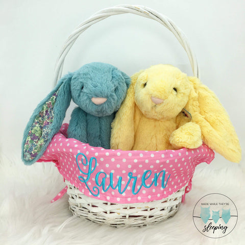 Personalised Willow Wicker Easter Basket - Pink
