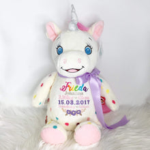 Load image into Gallery viewer, Personalised Spotty Unicorn Cubby