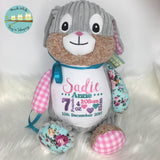 Personalised Harlequin Bunny Cubbie Pink - RETURNING SOON - ETA JULY