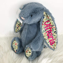 Load image into Gallery viewer, Personalised Jellycat Bashful Bunny - Dusky Blossom with dark pink embroidery thread