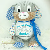 Personalised Harlequin Bunny Cubbie Blue