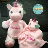 Personalised Pink Unicorn Cubby & Blankie Set