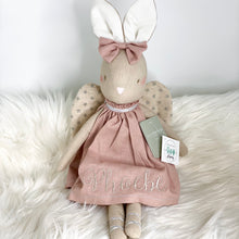 Load image into Gallery viewer, Alimrose Abby Angel Bunny 48cm - Rose personalised with silver embroidery for phoebe