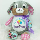 Personalised Harlequin Bunny Cubbie Pink