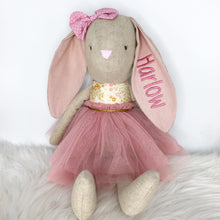 Load image into Gallery viewer, Personalised Alimrose Linen Pearl Cuddle Bunny - Blush 55cm