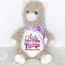 Load image into Gallery viewer, personalised llama teddy with purple and rose thread