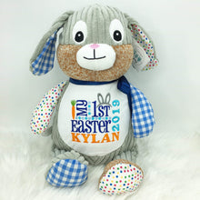 Load image into Gallery viewer, Personalised Harlequin Bunny Cubby Blue