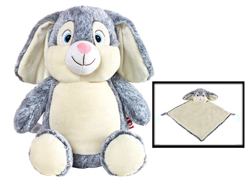 Personalised Grey Bunny Cubby & Blankie Set