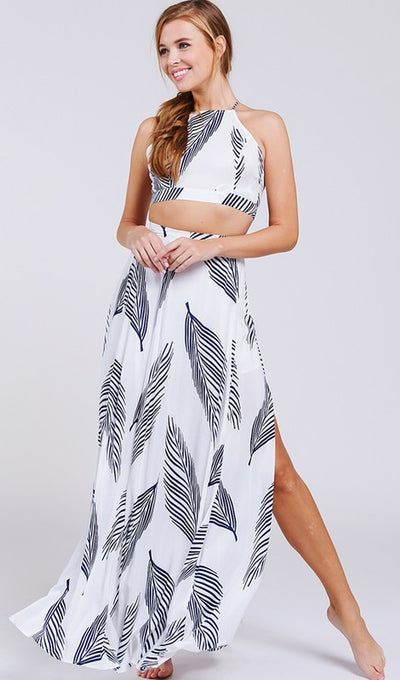 Leaf Print Two Piece - Anew Couture